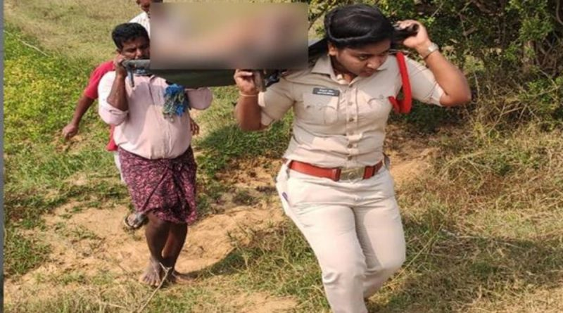 lady sub inspector picking dead body of beggar