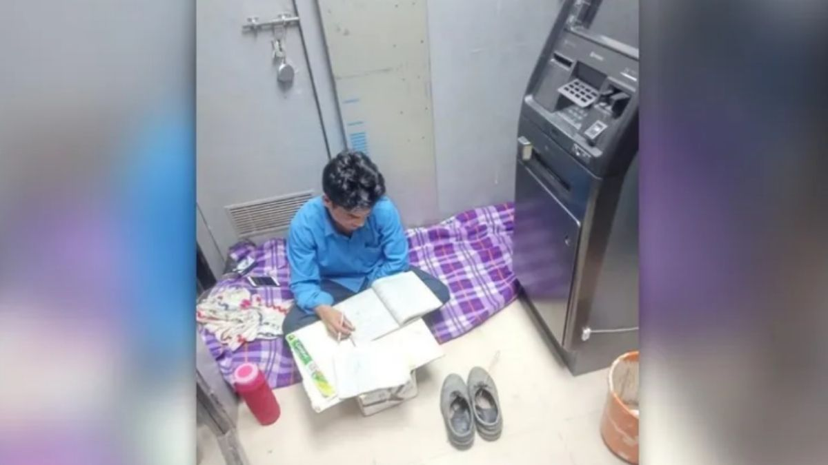 Security Guard Studying in Night