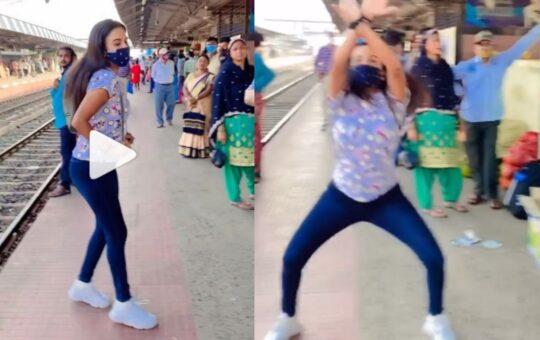 Girl dance on platform